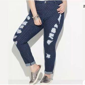 NEW Avenue Loralette blue polka dot jeans sz 20
